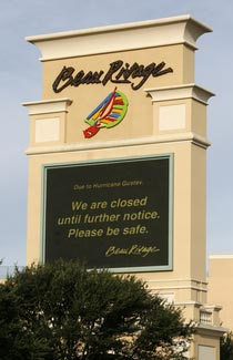 Beau Rivage Sign for Gustav Hurricane